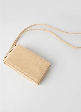 Бежевая сумочка чехол для телефона crossbody zara