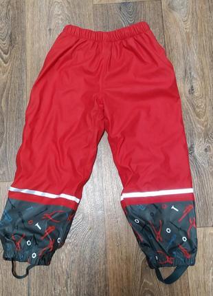 Теплые непромокаемые дождевые штаны на флисе