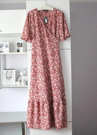 Шикарное цветочное макси платье в пол на запах большой размер сукня квіти