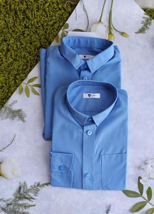 Голубі , шкільні рубашки на довгий рукав