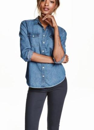 Джинсовая рубашка, котоновая, сорочка, блузка, с ксрманами