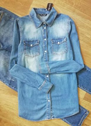 Котоновая, джинсовая рубашка, сорочка, блузка, оверсайз, с карманами