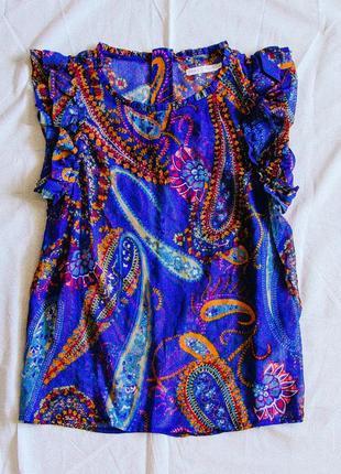 Синяя блузка шифоновая, женская блуза классическая, рубашка