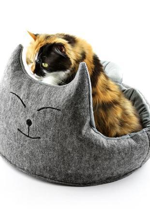 """Лежак для кота """"котэ с подушкой"""" серый (dw-91-15)"""