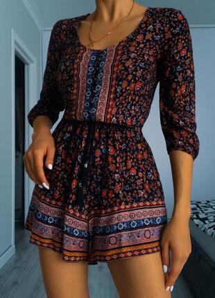 Цветочный комбинезон ромпер с шортами этно стиль bershka размер xs s