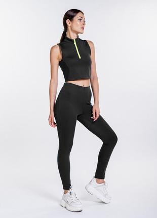 Новый стильный удобный спортивный женский костюм комплект лосины леггинсы и кроп топ