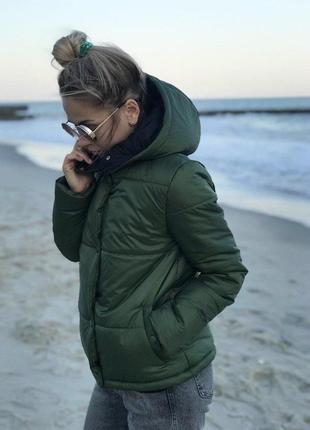 Куртка синтепоновая с капюшоном зеленая, хаки