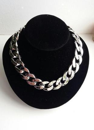 Ожерелье колье чокер цепочка серебристая