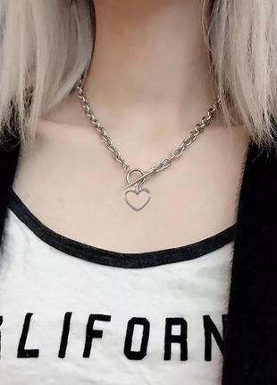 Ожерелье колье чокер цепочка цепь серебристая с подвеской сердце кольцо