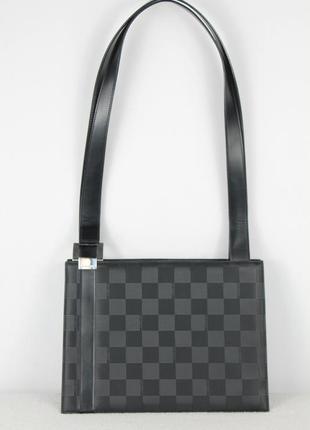 Сумка стильная maison mollerus шахматная на плече чёрная вместительная плотная оригинал