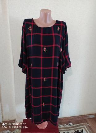 Натуральное лёгкое платье с вышивкой