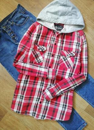 Байковая рубашка в клетку, рубаха, бобка, капюшонка, кофта