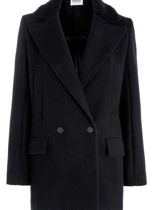 Стильное двубортное шерстяное пальто nicole farhi.