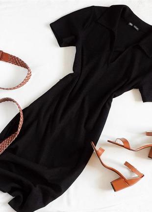Длинное платье миди в рубчик zara