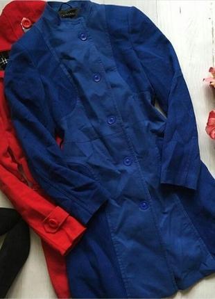 Яркий синий тренч,пальто sisley