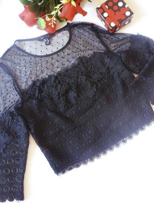 Красивенная черная кружевная блуза топ new look