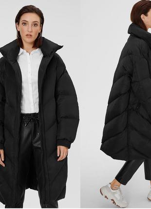 Черное стеганое объемное пальто одеяло пуховик в стиле оверсайз,большой размер,германия