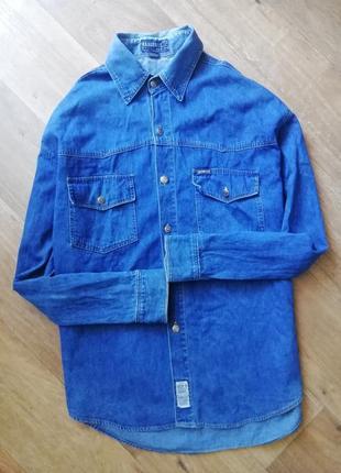 Джинсовая, котоновая рубашка, сорочка, прямая, оверсайз, бойфренд