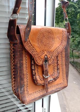 Кожаная сумка ручная работа этно стиль