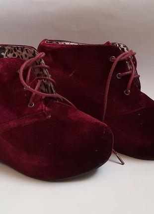 Велюровые ботиночки на платформе