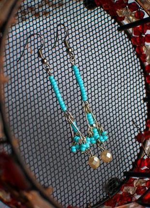 Серьги бирюз бохо этно стил бирюз серёжки подвески висюл жемч boho etno hand