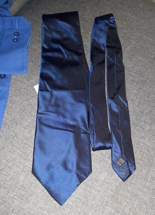 Шелковый темно синий галстук
