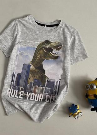 Стильная футболка с динозавром 6-7 лет h&m