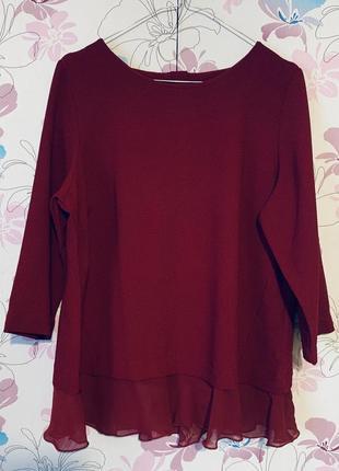 Бордовая блузка/свитшот с шифоновым низом