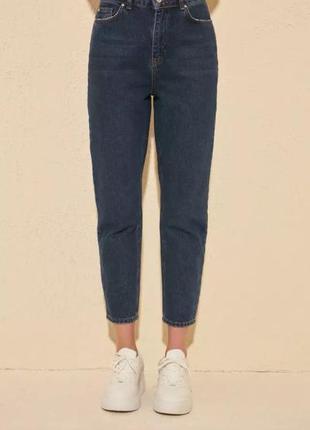 Темно синие мом джинсы  от trendyol