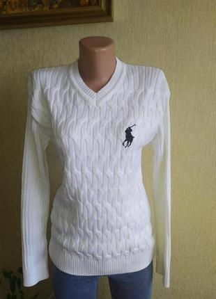 Фирменный белоснежный свитер поло, р. 38