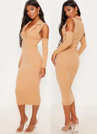 Платье-блайзер с пуговицами и открытыми плечами prettylittlething c asos