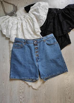 Голубые джинсовые короткие шорты плотные высокая талия посадка большого размера женские