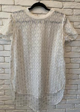 Футболка/блуза шёлк роскошная от h&m красивый ворот, рукав, фигурный низ