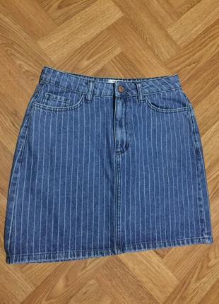 Джинсовая юбка в полоска new look denim