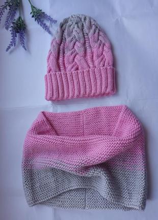 Комплект вязаный шапка с косами снуд хомут комплекты мама дочка фемели