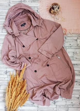 Демисезонный плащ с капюшоном пальто куртка большого размера батал длинный next