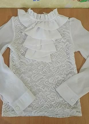 Блузка, кофточка нарядная, школьная форма 6-8 лет