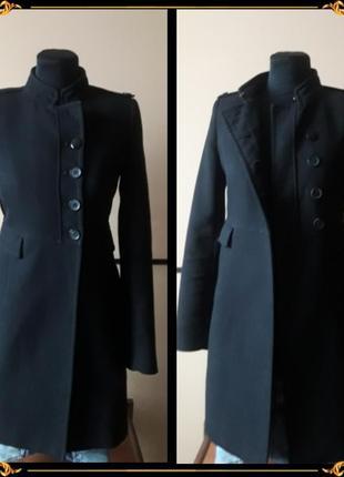 Пальто - шинель zara basic чёрного цвета😎