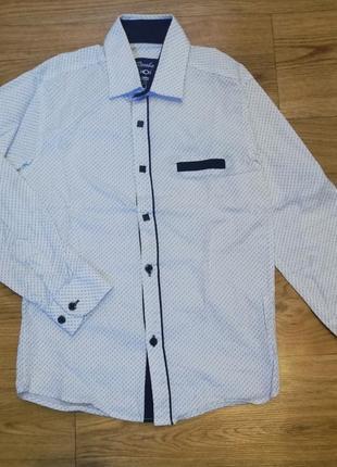 Рубашка сорочка с длинным рукавом для школы в школу на мальчика 7-9 лет