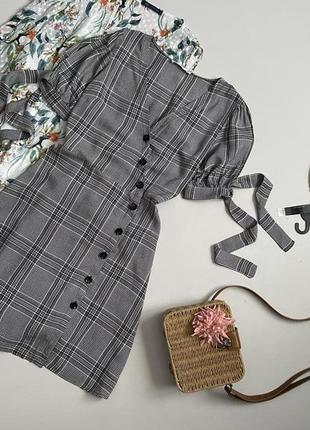 Трендовое клетчатое платье рубашка с красивым рукавом mango