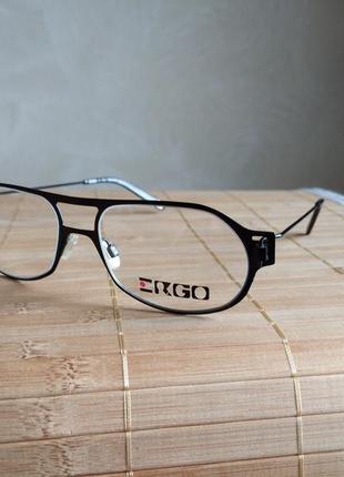 Брендовая актуальная металлическая оправа под линзы, очки ergo mu116