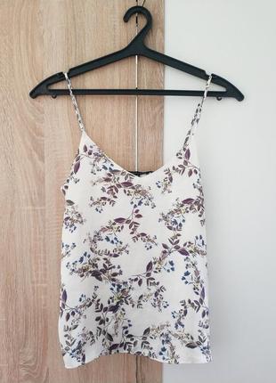 Майка блуза футболка кофта топ кроп шелк принт тропик растения цветы