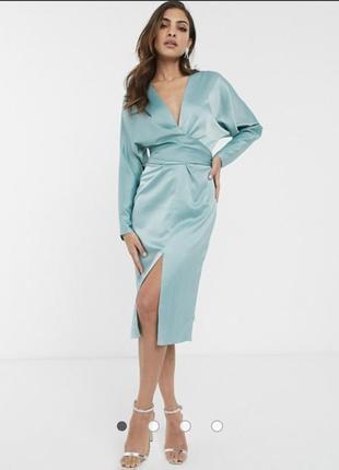 """Атласное платье макси с рукавами """"летучая мышь"""" и запахом"""
