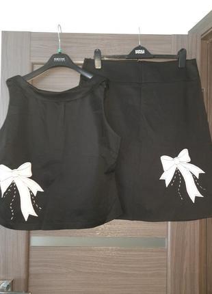 Костюм блуза юбка черный хлопок размер  18
