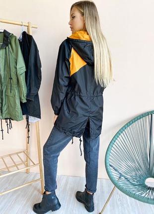 Ветровка женская двухсторонняя чёрная оранжевая