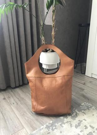 Кожаная сумка шоппер pieces