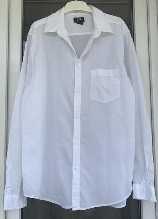 H&m стильная оверсайз рубашка из хлопка м-л (44-46)