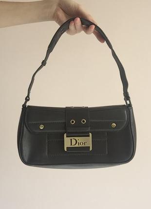Винтажная оригинальная сумка багет dior кожаная