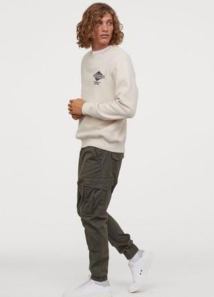 Спортивные хлопковые штаны хаки, карго , джоггеры, штаны с мотней h&m