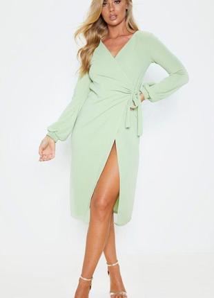 Prettylittlething сукня на запах ніжно-зеленого фісташкового кольору